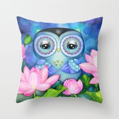 Owl in Lotus Pond Throw Pillow