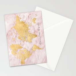 "Adventure awaits, gold and pink marble detailed world map, ""Sherry"" Stationery Cards"