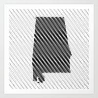 alabama Art Prints featuring Alabama Line by Beastie Toyz