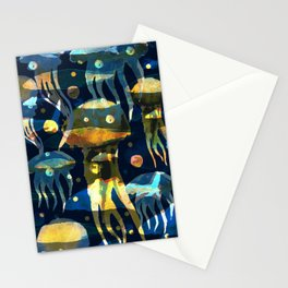 Underwater life. Jellyfish. Hand drawn illustration. Watercolor seamless pattern. Stationery Cards
