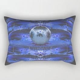 Disco Bee Hive Silver and Blue and Black Rectangular Pillow