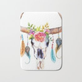 Floral and Feathers Adorned Bull Skull Bath Mat
