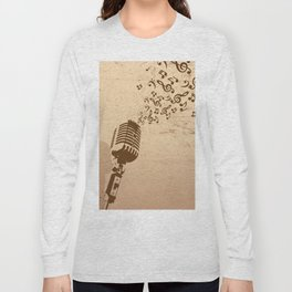 Retro microphone with grunge music concept Long Sleeve T-shirt