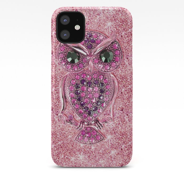Cute Pink Owl Glitter Pink Heart Diamond Photo Print Iphone Case By Girlytrend