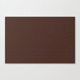 Small Black Polka Dot Pattern on Sherwin Williams Canyon Clay Canvas Print