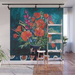 California Poppy and Wildflower Bouquet on Emerald with Tigers Still Life Painting Wall Mural