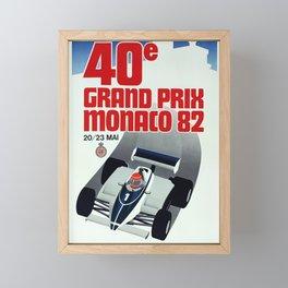 Monaco 1982 Grand Prix - Vintage Poster Framed Mini Art Print