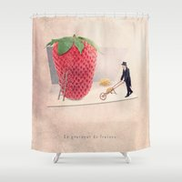 sticker Shower Curtains featuring The strawberry seed-sticker by Yann Pendaries