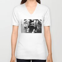 subway V-neck T-shirts featuring Subway by Domenic Ming