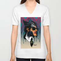 karl lagerfeld V-neck T-shirts featuring wolvereen  vs Karl Lagerfeld  by el brujo