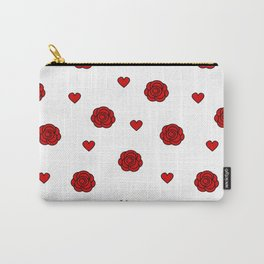 cute lovely pattern with red rose and hearts Carry-All Pouch