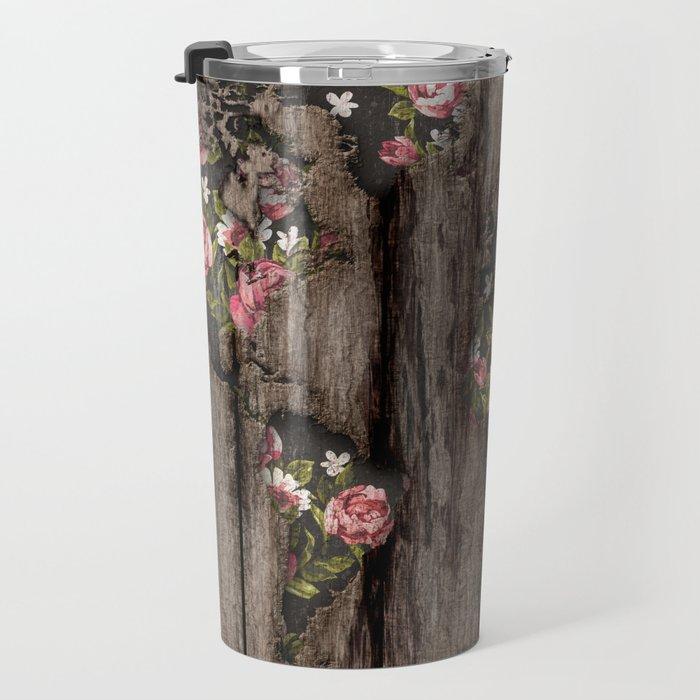 Wood Flowers Mapamundi Travel Mug