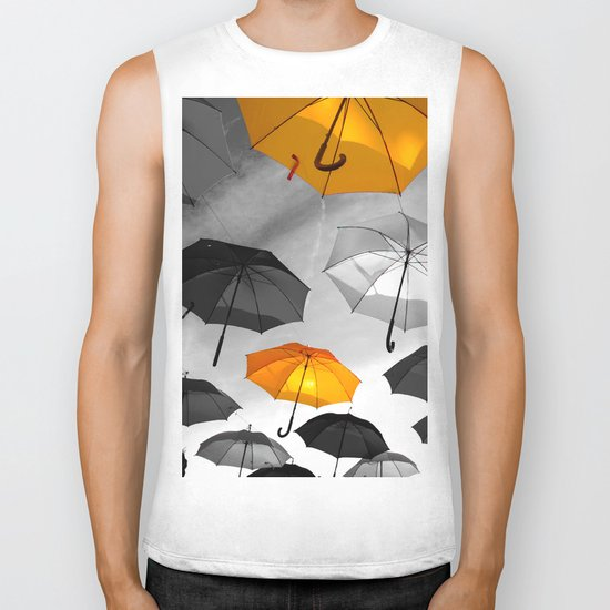 Yellow  is my color - Yellow and Black Umbrellas Biker Tank