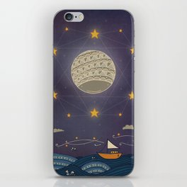 Sailing under the moon iPhone Skin
