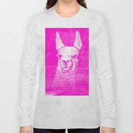 Funny Neon Pink Llama Animal Art Drawing Long Sleeve T-shirt