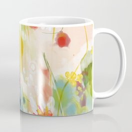 abstract floral art in yellow green and rose magenta colors Coffee Mug