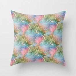 Satin Rainbow Pastel Floral Throw Pillow