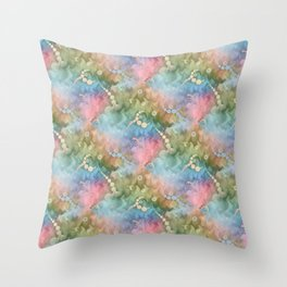 Satin Rainbow Pastel Floral Throw Pillow