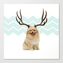 Puppy&Antlers Canvas Print