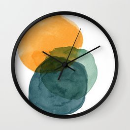 Watercolor Circles in Autumn Shades of Mustard and Teal Wall Clock