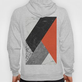 Black and White Marbles and Pantone Flame Color Hoody