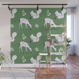 Wildlife - Happy Forest Animals Green Wall Mural