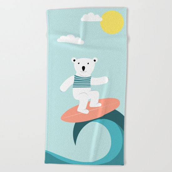 Polar bear surfing. Beach Towel