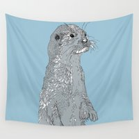 otter Wall Tapestries featuring Otter by caseysplace