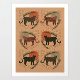 Leopard Sunset Tropical Pattern Art Print