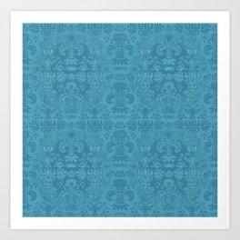 Blue Agate Damask Art Print