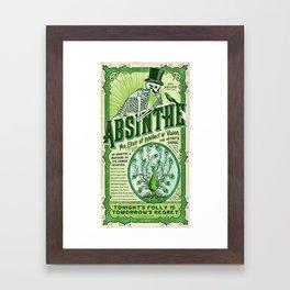 Vintage 1871 Absinthe Liquor Skeleton Elixir Aperitif Cocktail Alcohol Advertisement Poster Framed Art Print