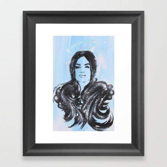 Dark Angel Stencil Face With Black Wings Acrylics & Spray Paint Framed Art Print