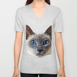 Siamese Cat darkened incinerated outer layer elongated eyes Unisex V-Neck