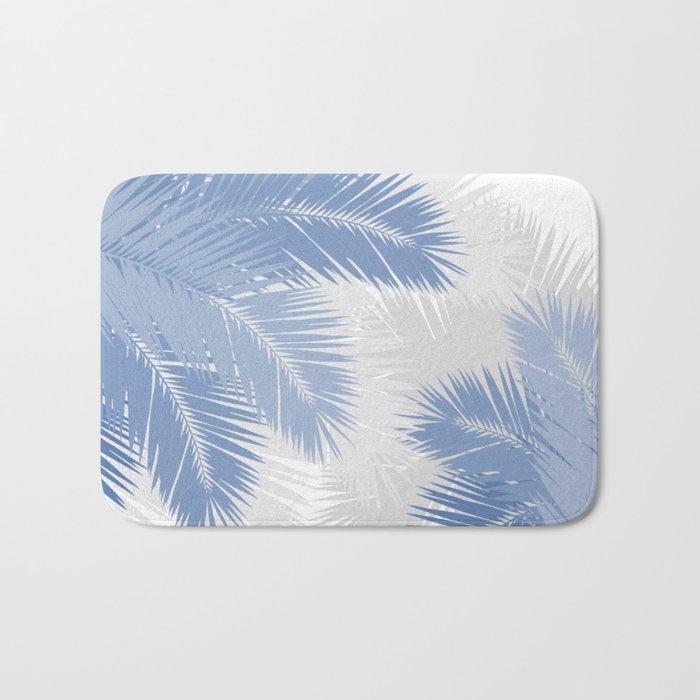 BLUE TROPICAL PALM TREES Bath Mat