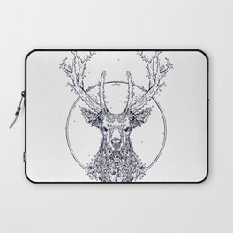 Flowers and Stag [Monochrome] Laptop Sleeve
