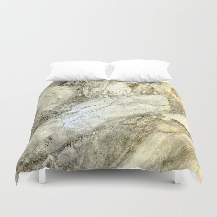 White Marble in Earth Tones Duvet Cover