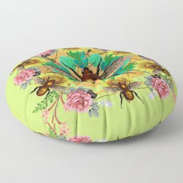 Bee Mandala Floor Pillow