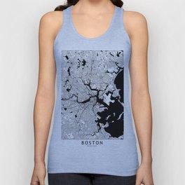 Boston Black and White Map Unisex Tank Top