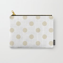 Polka Dots - Pearl Brown on White Carry-All Pouch