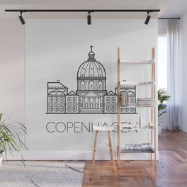 Marble Church Copenhagen Denmark Black and White Wall Mural