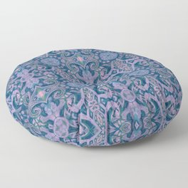 Summer Twilight, abstract arabesque in blue and violet Floor Pillow