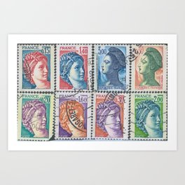 French Stamps by Suzette Art Print