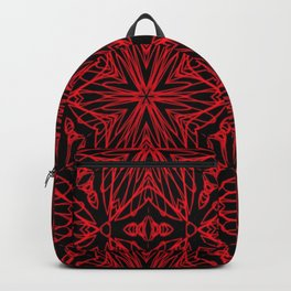 Black and red geometric flowers 5006 Backpack
