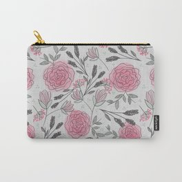 Soft and Sketchy Peonies Carry-All Pouch