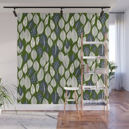 leaves and feathers green Wall Mural