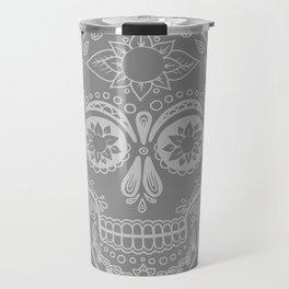 Grey Sugar Skull Travel Mug