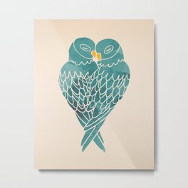 Love Birds (Blue) Metal Print