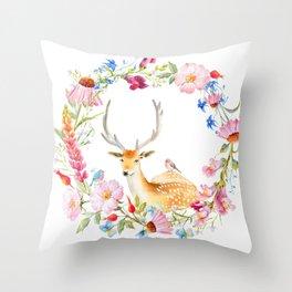 Deer in a floral wreath Throw Pillow