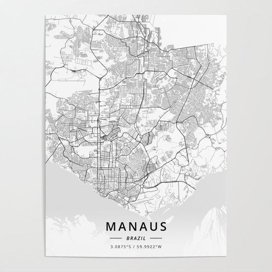 Manaus, Brazil - Light Map by designermapart