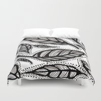 alisa burke Duvet Covers featuring black and white leaves by Alisa Burke